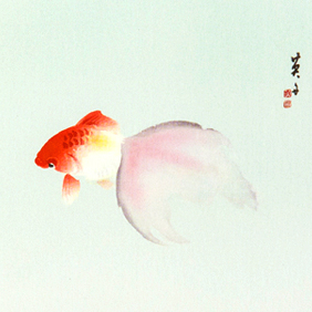 -金魚– 水中で花開く尾ひれ
