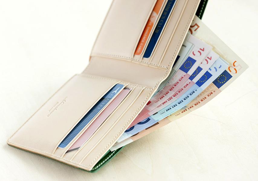 カードホルダー8段、札入れ2層、カードポケット2カ所。