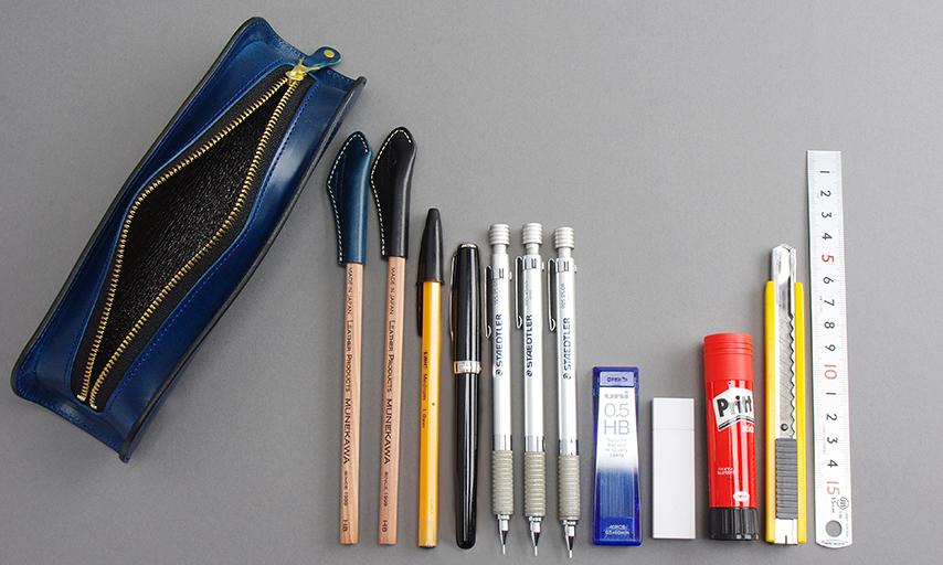収納力は十分。幅が広いので消しゴムやカッターナイフ、定規など、ペン以外のものも収納しやすい。