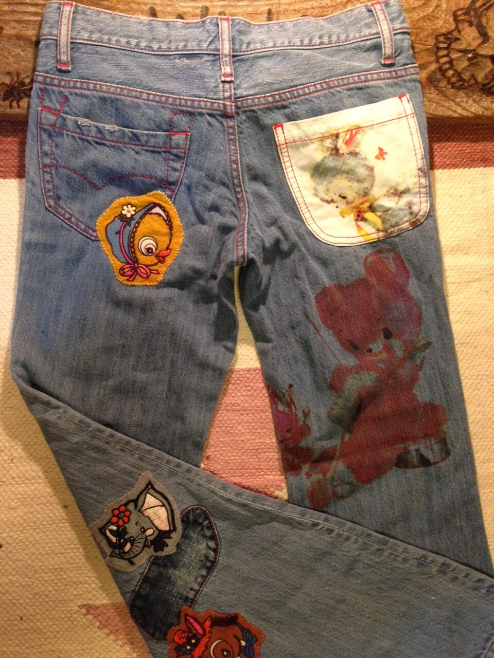 muchacha/animal patch&print buggy flare denim pants