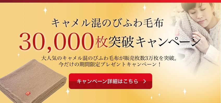 キャメル混のびふわ毛布30,000枚突破キャンペーン