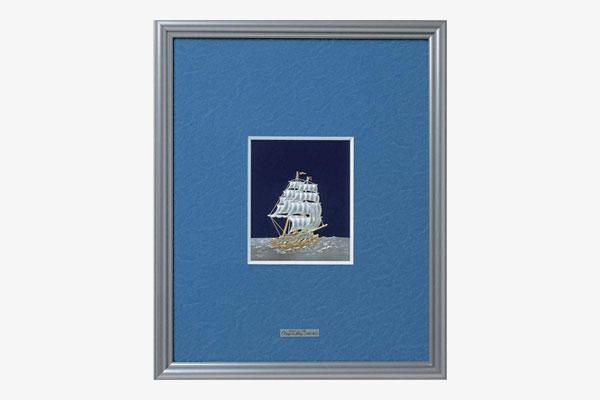 純銀レリーフ額 帆船