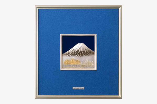 純銀レリーフ額 富士