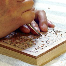 夢二の旅」版木彫り工程