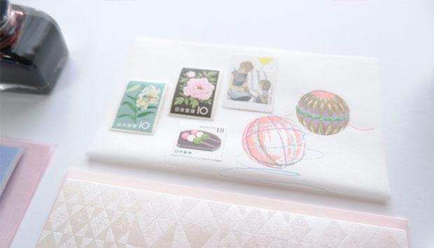 はいばらカード「色硝子」桜,榛原千代紙 「組木」