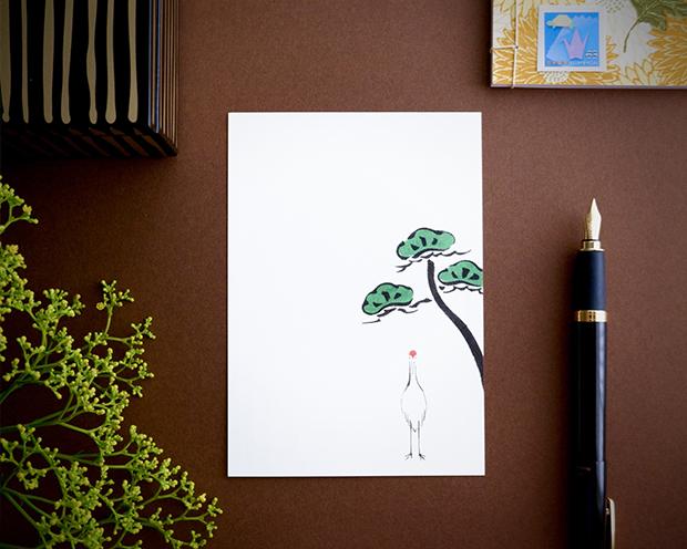 鶴に松葉書と折り紙切手