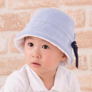 ベビー用帽子・ステッチリボンハット(小・青)
