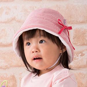 ベビー用帽子・ステッチリボンハット(小・赤)
