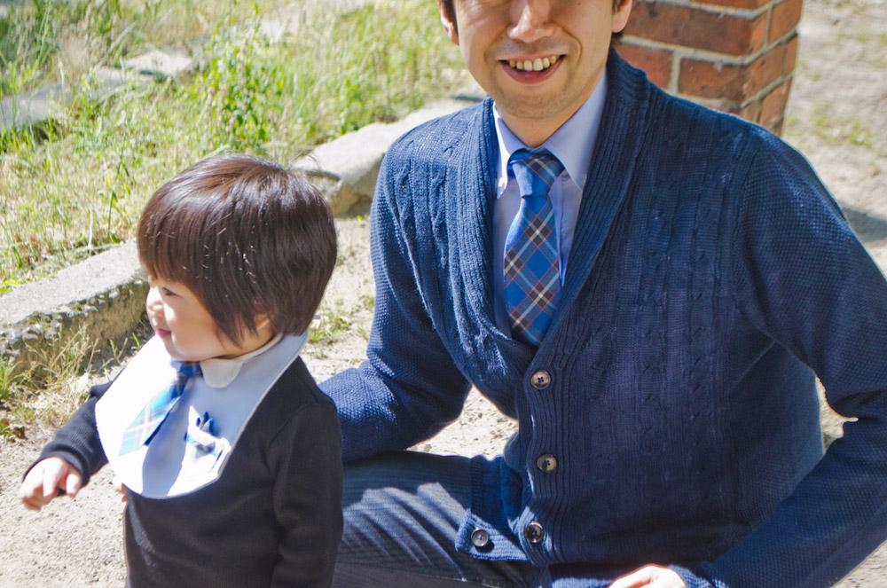 パパとお揃い 神戸タータン ネクタイ セット