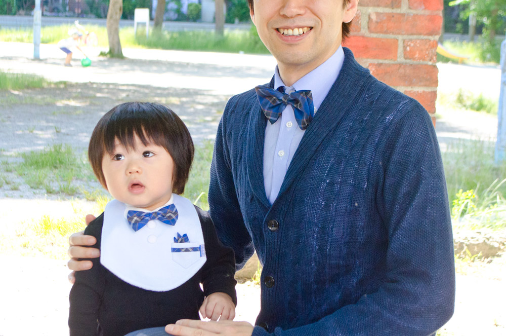 パパとお揃い 神戸タータン 蝶ネクタイ セット