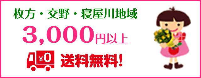 枚方・交野・寝屋川地域 3,000円以上送料無料