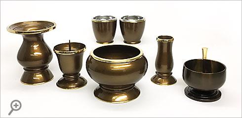 真鍮製 琵琶 ブラウン 六具足・豆リンセット