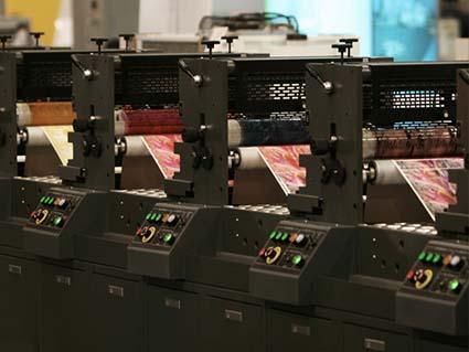 印刷機のアップ