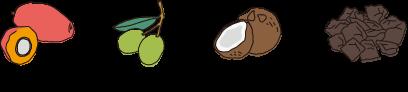 パーム油、オリーブ油、ヤシ油、水酸化Na、碁石茶エキス