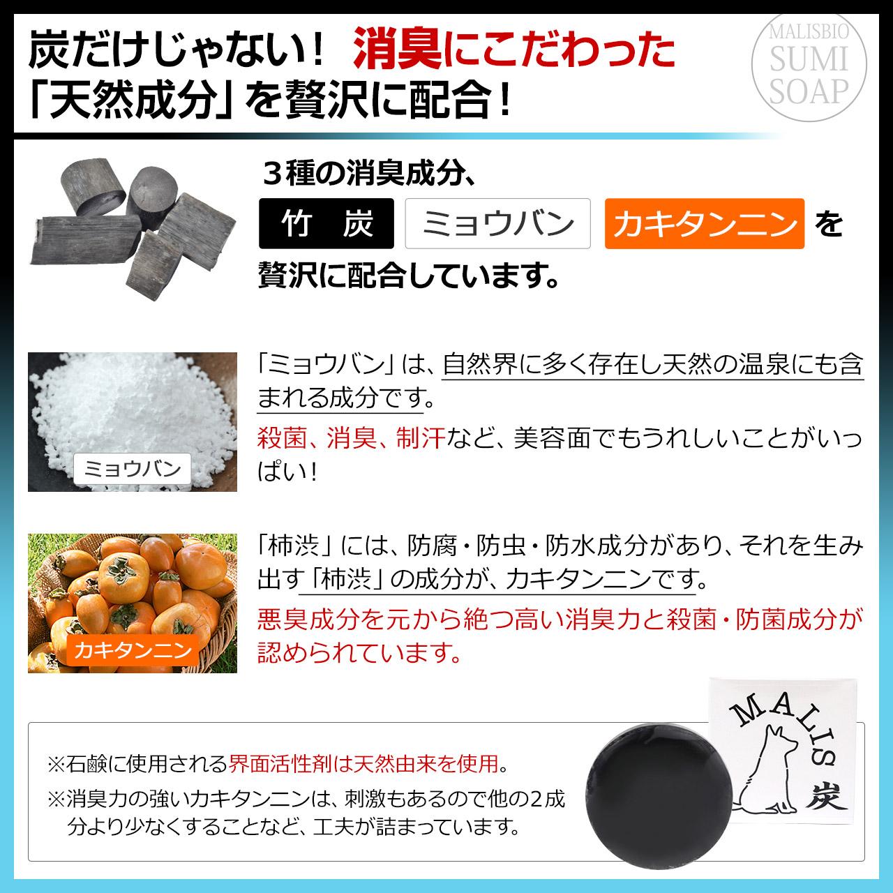 【送料無料】炭石鹸 無添加 消臭対策 炭ソープ 100g
