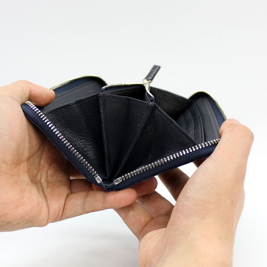 黒桟 藍染め ラウンド長財布