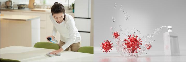 肌にやさしく安全・すすぎ洗い不要・ウイルス撃退