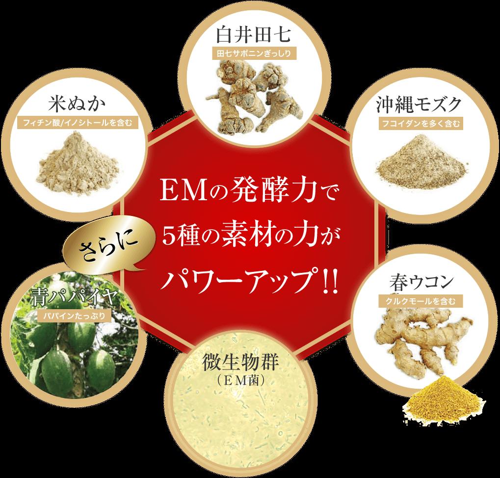 EMの発酵力で5種の素材の力がさらにパワーアップ!!