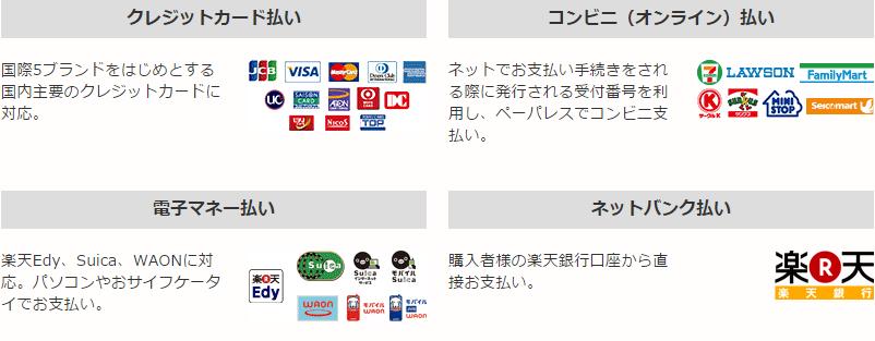 クレジットカード払い, コンビニ(オンライン)払い, 電子マネー払い, ネットバンク払い