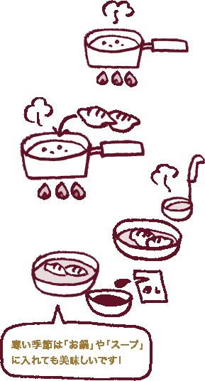 寒い季節は「お鍋」や「スープ」に入れても美味しいです!
