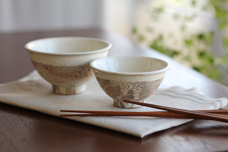 飯碗 渕荒横彫 / 古谷製陶所