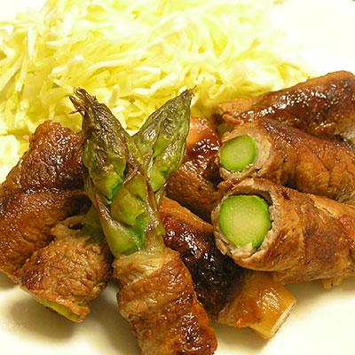 梅豚肉のアスパラ巻き