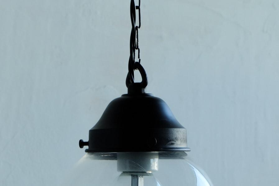 大正ロマンのアンティーク調の透明ガラスの照明