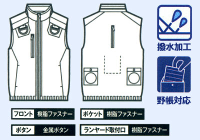 74150空調服ベストの画像。