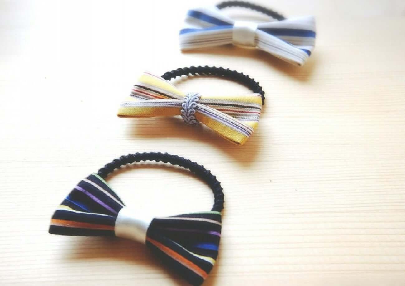 写真:小倉織のヘアゴム