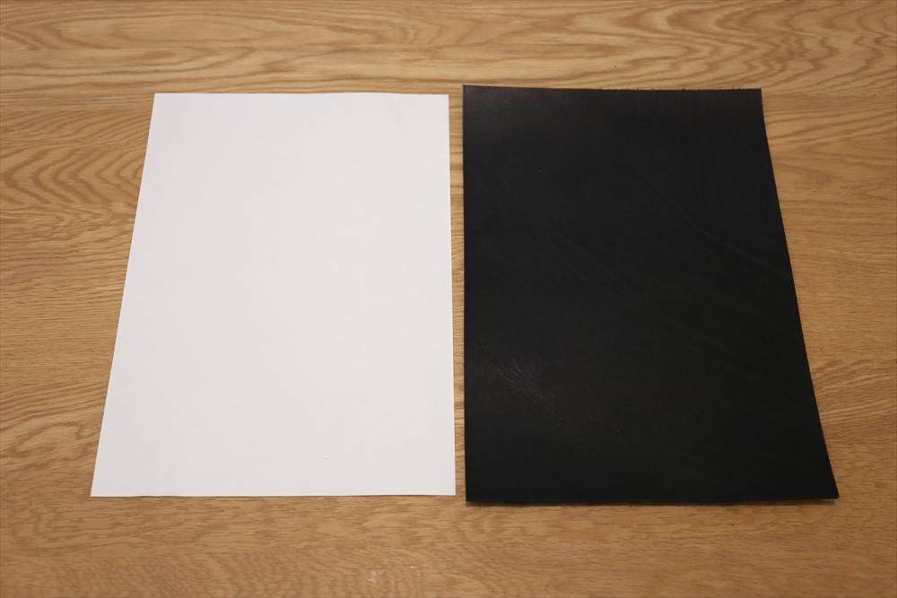 M104_A4切り売り革_黒_サイズ比較_R.JPG|革販売の和乃革