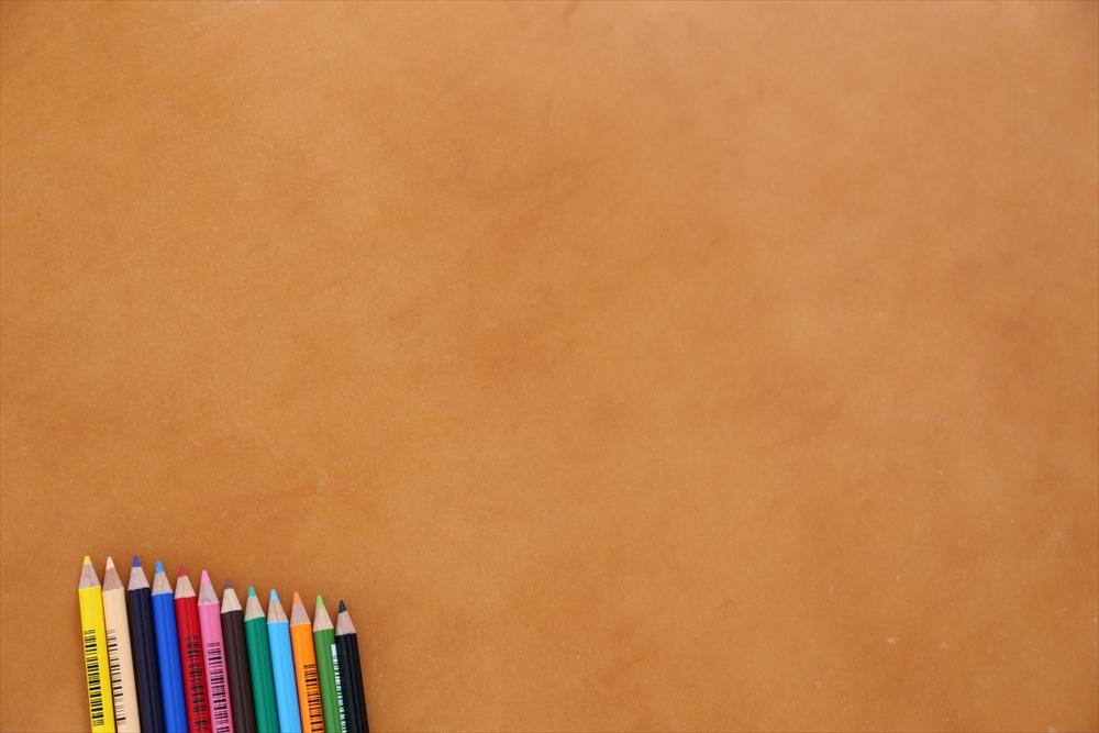 ピット層鞣しS002本ヌメ革_キャメル_色鉛筆比較4674_R.JPG|革販売の和乃革