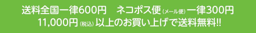送料全国一律600円、ネコポス便(メール便)一律300円、11,000円(税込)以上のお買い上げで送料無料!!