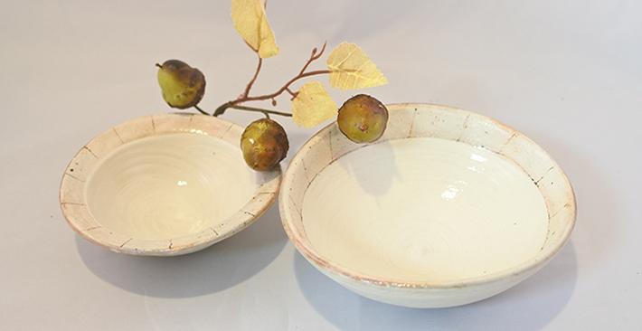 古谷製陶所たて鉄線たわみ 小鉢と豆鉢