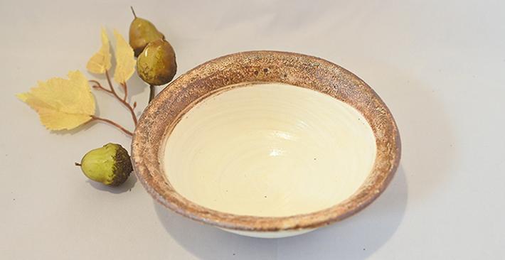 古谷製陶所渕荒粉引たわみ 小鉢