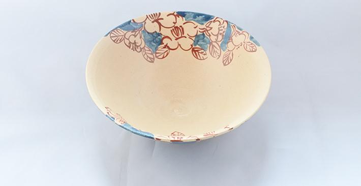 廣川みのり 山茶花 平深鉢6寸