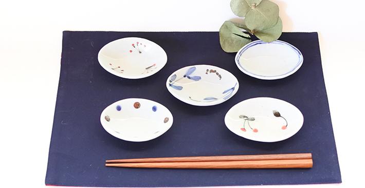 だ円 豆皿 5種 (ななかまど)