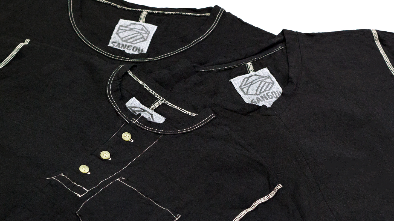 SANGOU 伊勢木綿Tシャツ 冠衣-KABURI- 深黒シリーズ ラインナップ