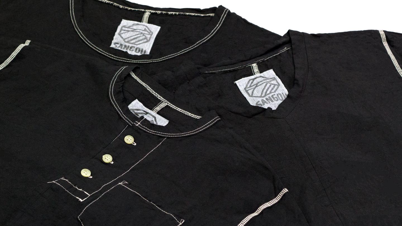 SANGOU 伊勢木綿Tシャツ 冠衣 KABURI 深黒 京都紋付深黒加工