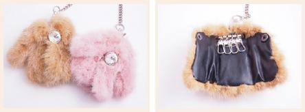 ミンクファーのコート型キーケース(キャメルかピンクどちらか)
