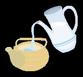 3.水を注ぎ、急須をゆっくり回し待つ。