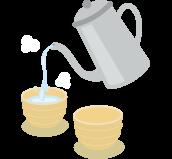 2.お湯を一度湯呑みにうつ